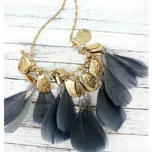 Jewelry - Gold Crystals & Gray Feather Necklace